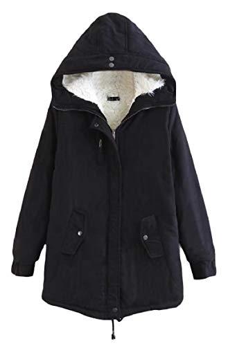 Outwear A Zip Lunga Con Metà Cappuccio Di Puro Howme Colore Tasca Calda Nero Velluto donne xzRn0xZqOw