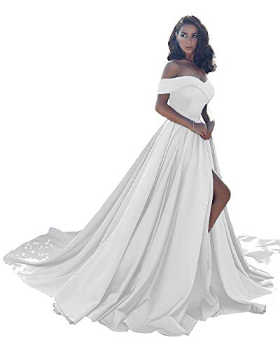 Prom Dresses Long Split Off Shoulder Wedding Evening Dress A line Satin Formal Ball Gown Ivory-14 Size