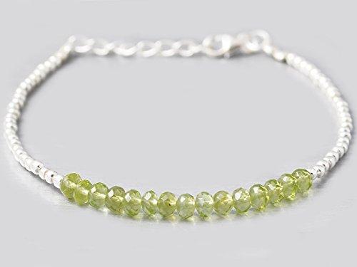 Green Handmade Bracelets - Green Peridot Beads Bracelet with 925 Silver beads & clasp 6.50