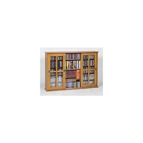 Leslie Dame MS-525 Wall Mounted Sliding Door Mission Style Media Storage Cabinet, Oak