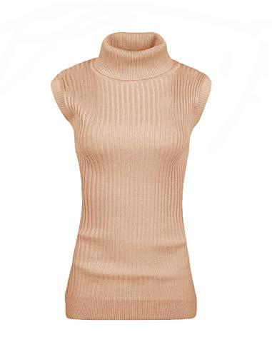 v28 Women Sleeveless High Neck Turtleneck Stretchable Knit Sweater Top-M,Khaki