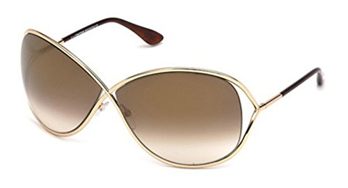 Tom Ford Women's FT0130 Sunglasses, Shiny Rose Gold by Tom Ford