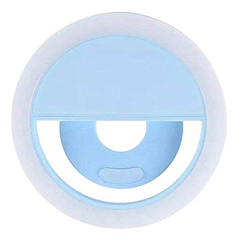 Google Phone Blue Snap - Tech V LED Selfie Ring Light 3 Adjustable Levels of Brightness for All Smartphones Rechargeable Trendy Versatile Portable Well-lit Long-Lasting Needs No Filters Professional Results Compact (Blue)