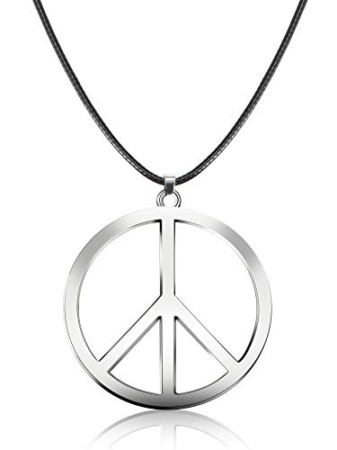 Tatuo 1 Piece Metal Peace Sign Pendant 1960s 1970s Hippie Party Accessories Necklace (Silver)