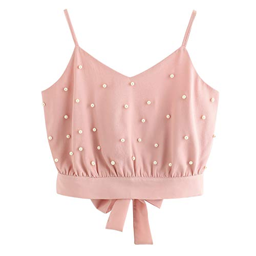 Female Crop Tops Female Camisola Womens Vest Chiffon Camisole Sleeveless Pearl Beading Camis Pink S