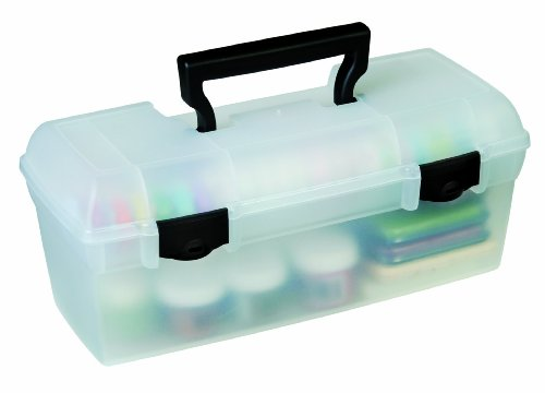 ArtBin Essentials Lift Out Tray with Black Latches and Handle-Clear Art/Craft Storage Box, 83805 by ArtBin
