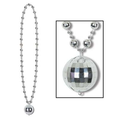 Beistle 50143 1-Pack Disco Ball Beads with Disco Ball Medallion, 36-Inch (Medallion Bead Necklace)
