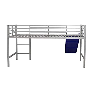 DHP Junior Twin Metal Loft Bed with Slide, Multifunctional Design, Silver with Blue Slide 14
