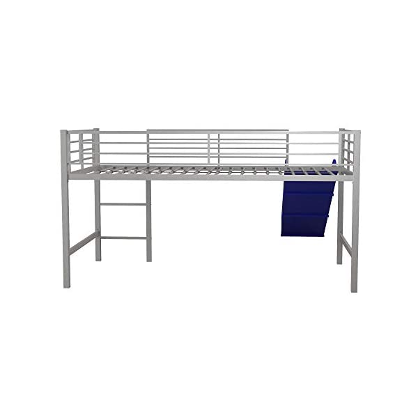 DHP Junior Twin Metal Loft Bed with Slide, Multifunctional Design, Silver with Blue Slide 1