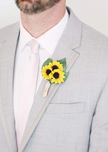- Floral Home Pack of 4 - Yellow Mini Sunflower Boutonniere - 4