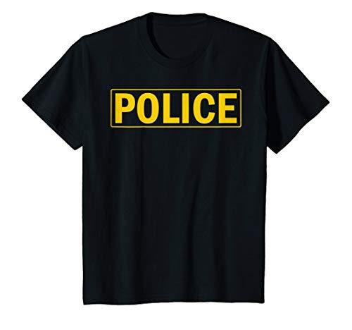Kids Police Shirt Cop Uniform Tee 6 Black (Police Girls T-shirt)