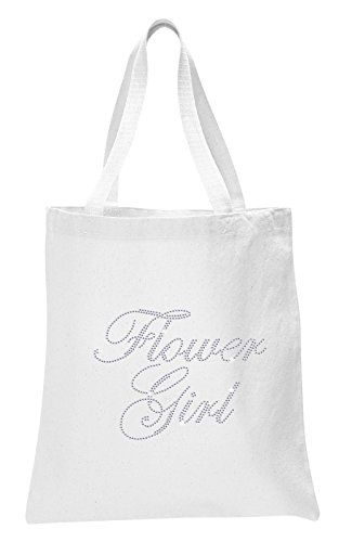 Varsany White Flower Girl Luxury Crystal Bride Tote bag wedding party gift bag Cotton by CrystalsRus