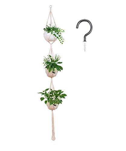 AOMGD 3 Tier 80'' Macrame Plant Hanger Indoor Outdoor Hanging Plant Holder Hanging Planter Stand Flower Pots for Decorations - Cotton Rope,4 Legs by AOMGD