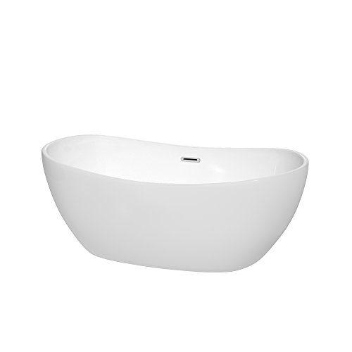 Wyndham Collection WCOBT101460 Rebecca Freestanding Bathtub, 60″, White with Polished Chro ...