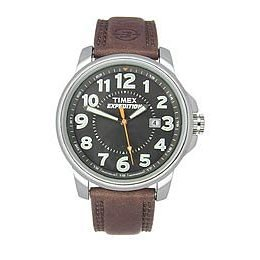 Timex Expedition Metro Metal Field Brown Leather Strap, 44921, INDIGLO, Quick Date, 10 Year Battery, 50 Meter -  tt4921
