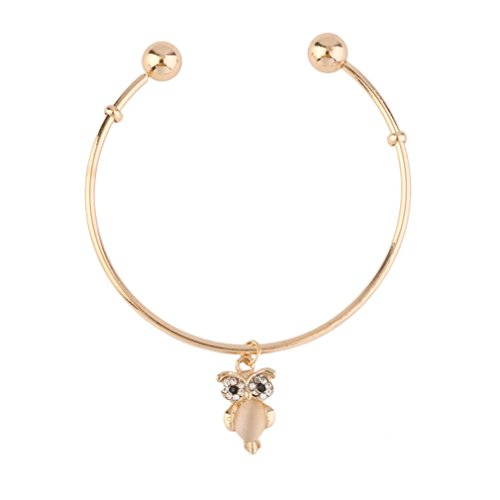 Charm Bracelets for Women,Baynne Bangle Bracelet Owl Rhinestone Cuff Bracelet Bangle Jewelry Gift (Gold) from Baynne