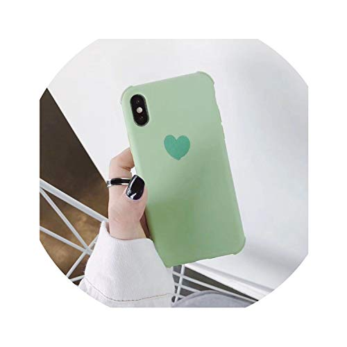 boom123 Shockproof Cute Candy Color Heart Phone Cases for iPhone XR XS Max 6 6S 7 8 Plus X Soft TPU Plain Back,Green,for iPhone 6Plus 6SP