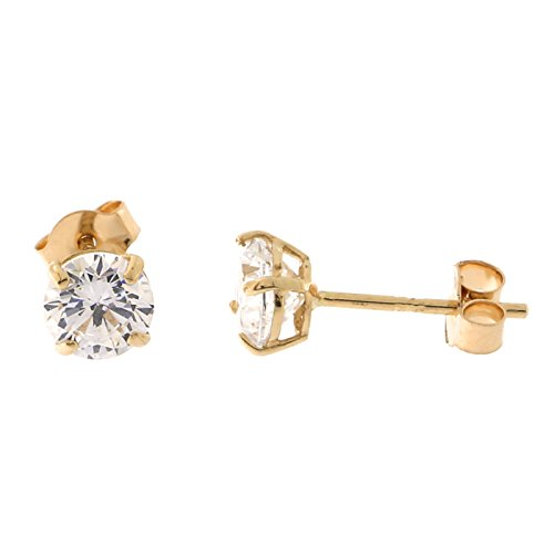 14k Rose Gold Basket Set Cubic Zirconia Stud Earrings, 4 Millimeters (0.5ctw)