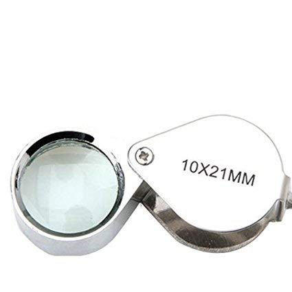 Foldable Chrome Jewelers Loupe 10x21mm Magnifier Magnifying Eye Glass Lens