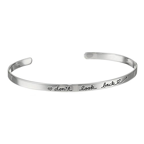 Botrong Don't Look Back Inspirational Lettering Fashion Women Girl Cuff Bangle Jewelry Bracelet (Silver)