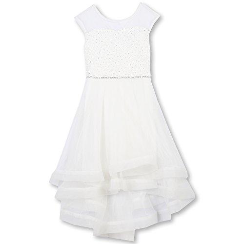 Speechless Big Girls' Cap Sleeve Ribbon Hem Sparkle Party Dress, White, 7 -