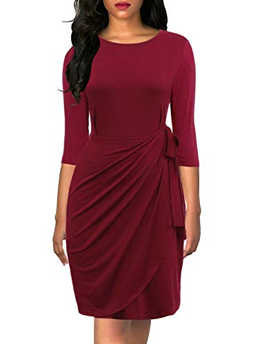 Lyrur Women's Elegant 3/4 Sleeve Sheath Knee Length Fitted Solid Cocktail Party Pencil Faux Wrap Dress (M, 9062-Burgundy)