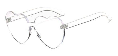 Heart Shape Rimless Sunglasses One Piece Transparent Glasses Fashion Candy - Shades 90s