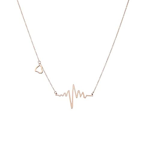 Lureme Classic Jewelry Stainless Steel Charm EKG Heartbeat Lifeline Pendant Necklace Rose Gold Plated (Cuore Rosa Orecchini)