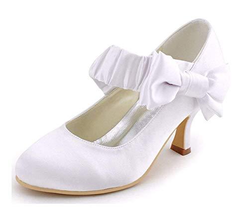 Alla Caviglia Dimensione Qiusa Heel Ivory Da Donna Uk E 5 6 6 colore Con 5cm Cinturino Heel Nappe Increspato r55wE6