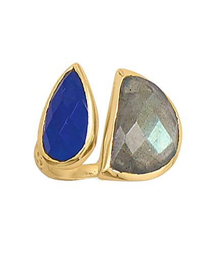 Labradorite and Blue Jade Split Style Ring Gold-plated