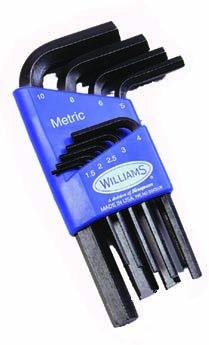 Williams 10509 Short Metric Hex Key Set, (9 Piece Metric Short)