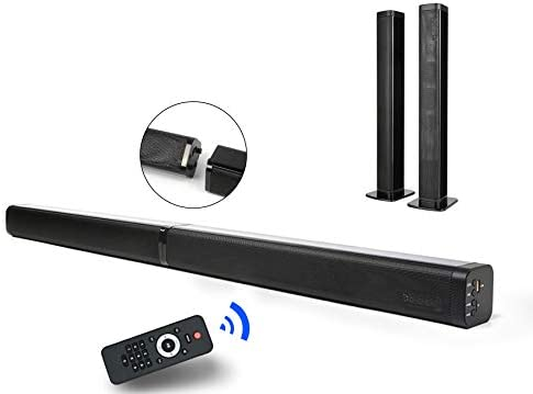 2 in 1 Sound Bar for TV, 37-Inch Separable Soundbar 2.0 Channel Wired Wireless Bluetooth TV Speakers V5.0 EDR Dual Stereo AUX USB Connection with 4 Driver Speakers, Black-in Subwoofers