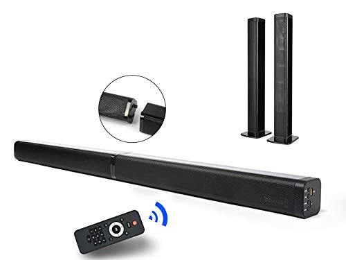 2 in 1 Sound Bar for TV, 37-Inch Separable Soundbar 2.0 Channel Wired & Wireless Bluetooth TV Speakers V5.0 + EDR Dual Stereo AUX/USB Connection with 4 Driver Speakers, Black-in Subwoofers (Insignia 2-1 Channel Soundbar With Wireless Subwoofer)