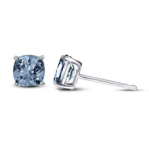 100% Real Diamond Earrings 1/3 Ct IGI Certified Cushion Blue Diamond Solitaire Stud Earrings For Women Lab Grown Diamond Earrings 14K Blue-VS1-VS2 Quality Gold Real Diamond Earrings