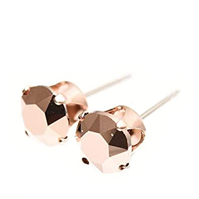 0fdef4f78 18ct Rose Gold on 925 Sterling silver stud earrings for women made with  sparkling Rose Gold