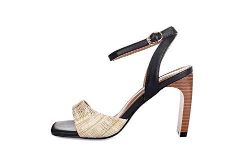 Weiß MENGLTX High Heels Sandalen Frau Frau Partei Knou ;chelriemen Sommer Sandalen Saladiator Chunky High Heels Damen Pumps Frauen Echtes Leder Schuhe Frau  bis zu 80% sparen