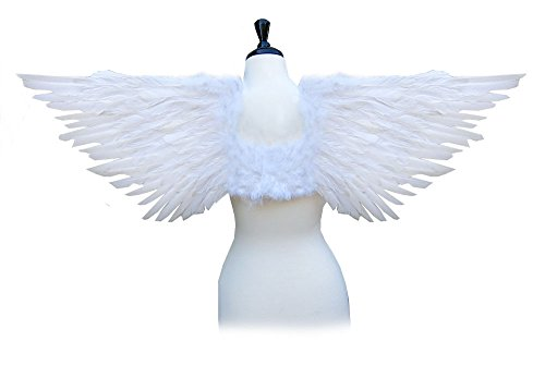 [SACASUSA (TM) Large Feather Costume Fairy Angel Wings in White] (Girl Angel Costumes)