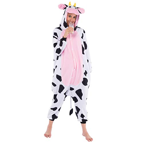 Spooktacular Creations Unisex Adult Pajama Plush Onesie One Piece Cow Animal Costume (Small)