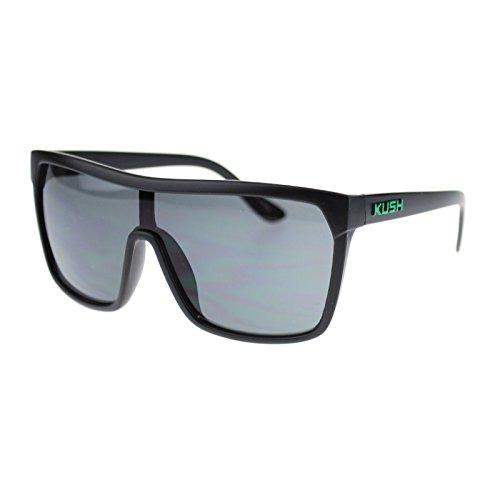Kush Marijuana Pot Flat Top Shield Mobster Plastic Sunglasses Black - Sunglasses Mobster