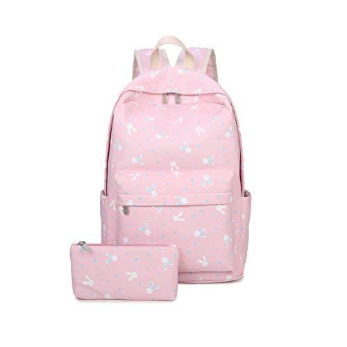 Mochila De Niedlich Rosa Style Corea Bolsa Canvas College Eeayyygch Mujer Casual Morado Talla Única Impresión Viaje Claro zqA05na
