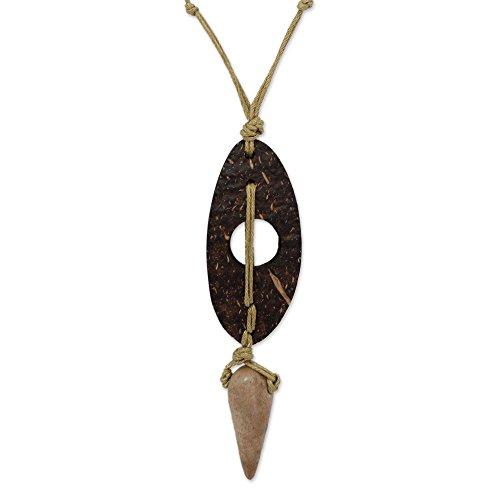 NOVICA Coconut Shell Men's Pendant Necklace, 26'' 'Brave' by NOVICA