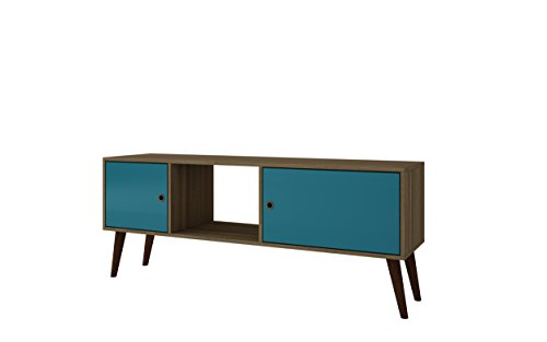 Manhattan Comfort Varberg TV Stand Collection Free Standing Contemporary TV Stand for Flat Screens with 3 Shelves and 2 Doors on Splayed Wooden Legs, Oak/Aqua