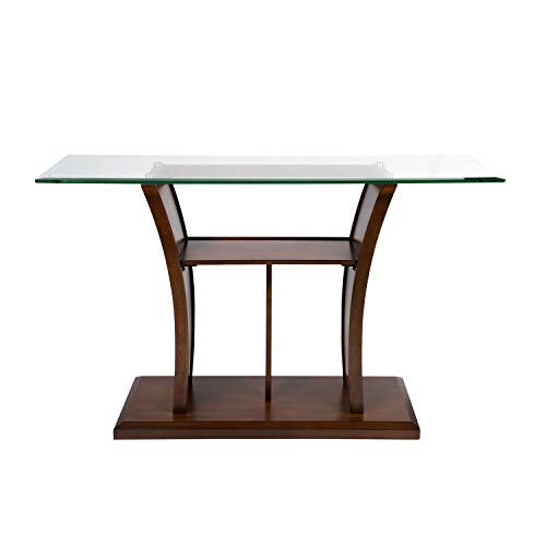 Furniture of America IDF-4104S Veretta Sofa Table with 10mm Beveled Glass Top, Brown Cherry
