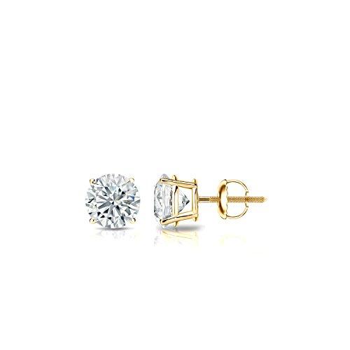 14k Yellow Gold 4-Prong Basket Round Diamond Stud Earrings (1/3 ct, Good, I1-I2)