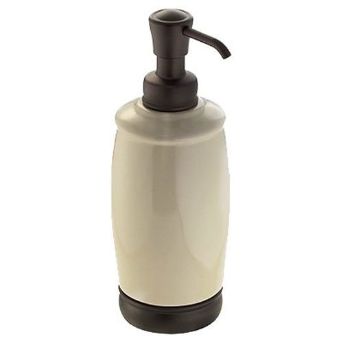 InterDesign York Ceramic Liquid Soap & Lotion Dispenser Pump for Kitchen or Bathroom Countertops, (Ginger Soap Lotion Dispenser)
