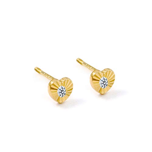 (Balluccitoosi 14k Gold Tiny Stud Earrings for Women & Girls - Real Hypoallergenic, Small & Minimalist (14k Mini Heart CZ Stud Earrings) )