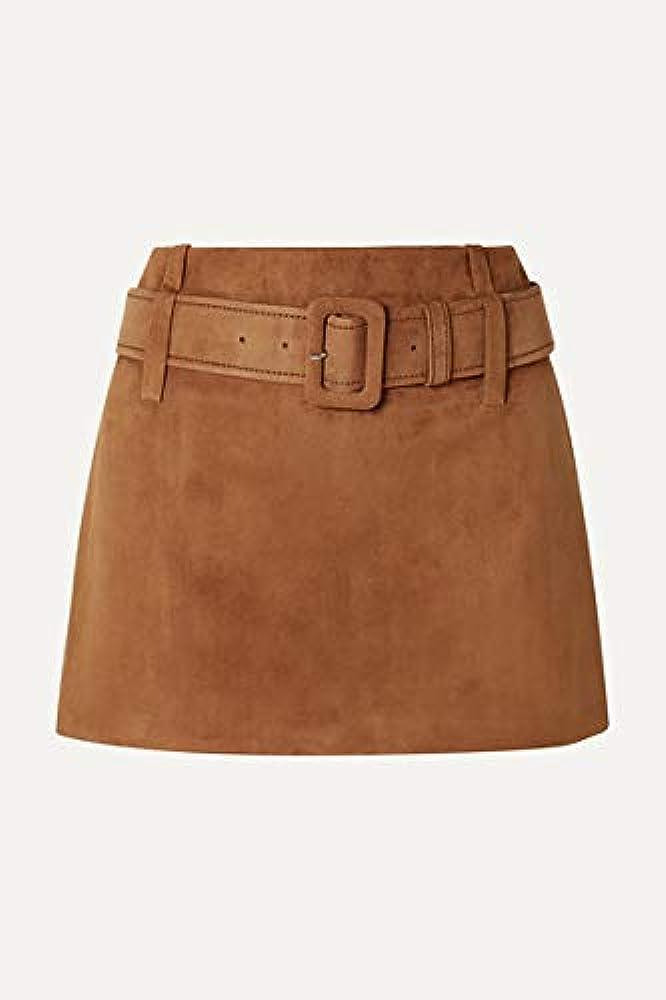Lust FOR - Mini Falda de Ante con cinturón para Mujer Marrón ...