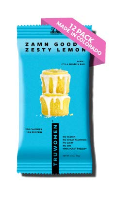 TRUWOMEN Plant Fueled Protein Bars, Zamn Good Zesty Lemon (12 Count) | Non-GMO, Vegan, Gluten Free, Kosher, Soy Free, Dairy Free, Healthy Snack Bar, Natural Ingredients | 12g Protein