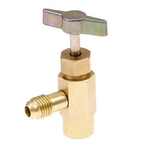 R1234YF Can Tap, 1/2'' Acme to 1/4'' SAE Dispenser Valve AC Refrigerant Bottle Opener, Fits for R12 R22 Refrigerant Charging Hose