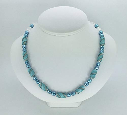 Medium Teal and Pearl White Twist Bead Necklace Handcrafted Polymer Clay Glass Beads Magnetic Clasp Lightweight